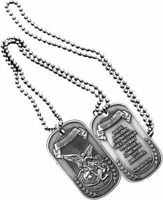 NEW Dog Tag with key chain St. Michael 2-Sided. 2803.