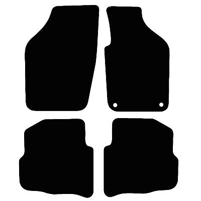 VW Polo 9N 2002 - 2004 Tailored Black Car Floor Mats Carpets 4pc Set Oval Clips