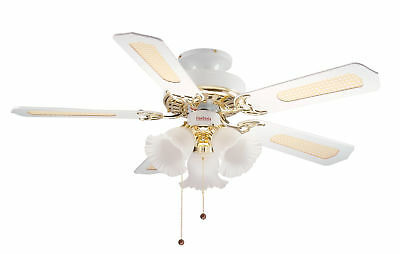 Fantasia Eurofan Belaire 42 Ceiling Fan and Light Brass with White Blades 110545
