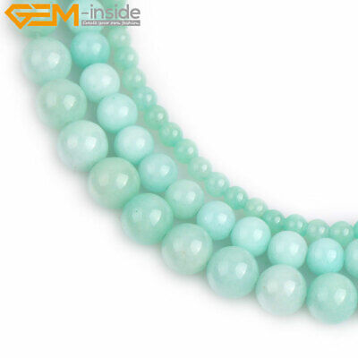 """Light Cyan Jade Stone Loose Spacer Round Beads For Jewelry Making 15"""" Wholesale"""