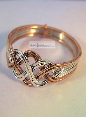 8 Band Open Weave Princess Solid Silver and Bronze Design Turkish Puzzle Ring