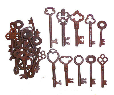Assorted Antique 1800'S  Iron Skeleton Keys Lot Of 100