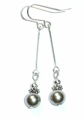 Beautiful Pale Silver Grey Pearl Art Deco Style Drop Earrings