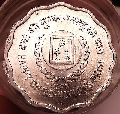 Gem Unc Roll (20 Coins) India 1979 F.A.O. Issue 10 Paise~Scalloped Coins~Free Sh