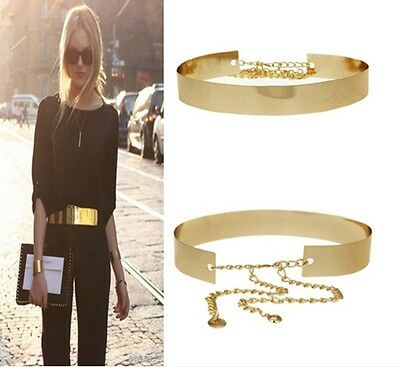Vogue Lady Full Metal Gold Wide Plate Waist Mirror Chains Band Belt Waistband-B