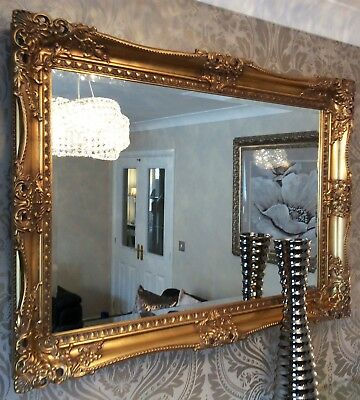 X LARGE Antique GOLD Shabby Chic Ornate Decorative Wall Mirror Rococco Vintage