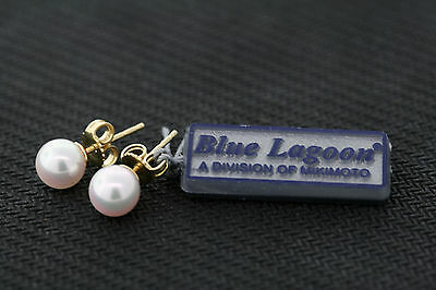 Mikimoto Blue Lagoon 14k Yellow Gold 6.5mm Genuine White Pearl Stud Earrings