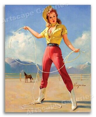 """""""Perfect Form"""" Vintage Style Elvgren Cowgirl Pin-Up Rodeo Horse Poster - 16x20"""