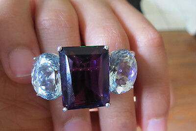 Huge Custom 42.5 carats Aquamarine Diamond & amethyst 14k gold two finger ring