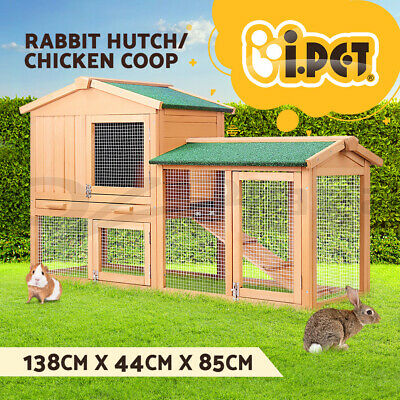 Rabbit Hutch Chicken Coop Guinea Pig w/Tray Ferret Cage House Run 2 Storey 138cm