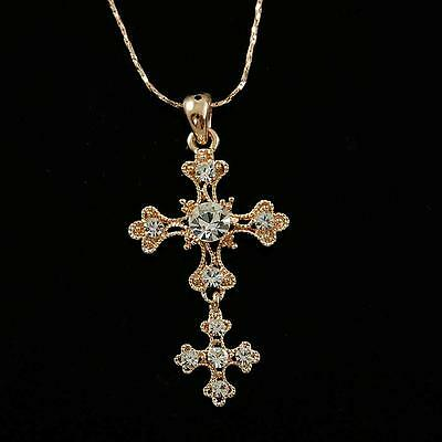 18K Rose Gold Plated Clear Crystal Cross Pendant Fashion Necklace 11736