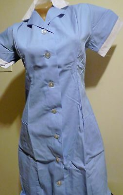 Best Medical Nurse Dress Collared Hospital Scrub Blue Sizes XS - 4X  (28 to 52)