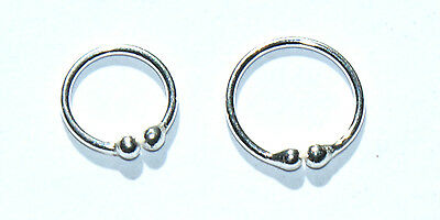 FAKE STERLING SILVER NON PIERCED NOSE LIP HOOP RING STUD 8 OR 10 MM by 0.8 mm