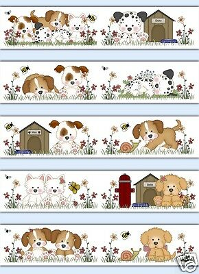 Puppy Wallpaper Border Decals Baby Boy Girl Childrens Room Wall Stickers Decor