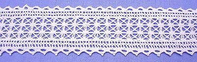 30mm White Cotton Cluny Insertion Lace