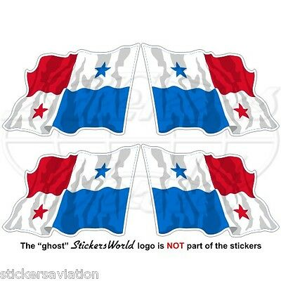 "PANAMA Flying Flag, Central America Panamanian 50mm(2"") Vinyl Stickers-Decals x4"