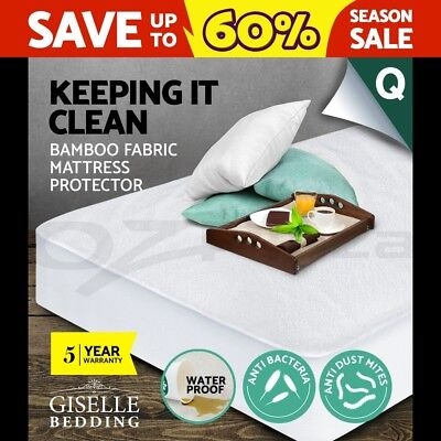 Giselle Bedding Fully Fitted Waterproof Mattress Protector Bamboo Cover Queen