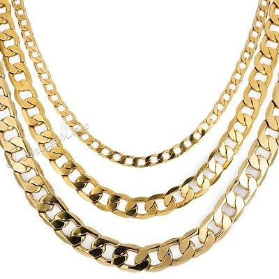 CUSTOMIZE SIZE CUT CURB Link Yellow Gold Filled GF Necklace Womens Mens Chain