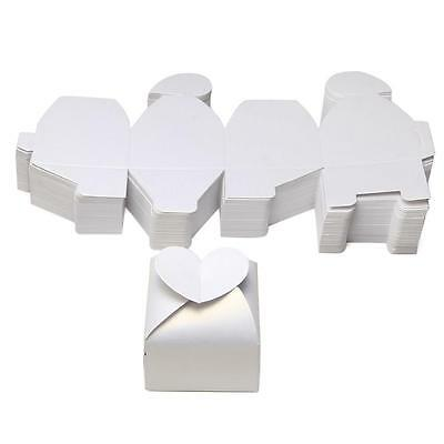 100 Heart Cut Gift Chocolate Candy Boxes Wedding Party Favor Baby Shower White