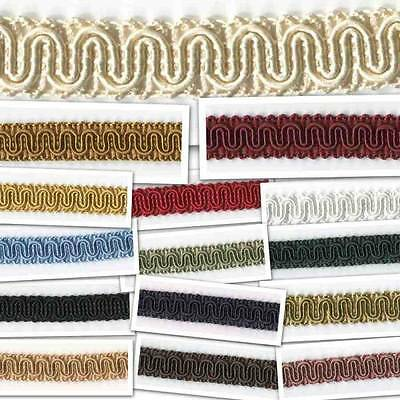CLEARANCE 15mm Scroll Gimp 15 Colours Braid Upholstery Chair Costume BUY 1 2 4m