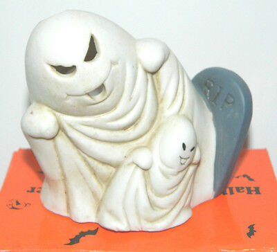 1980 Vtg Halloween Ghosts RIP Grave Cemetery Candle Holder Luminary Porcelain