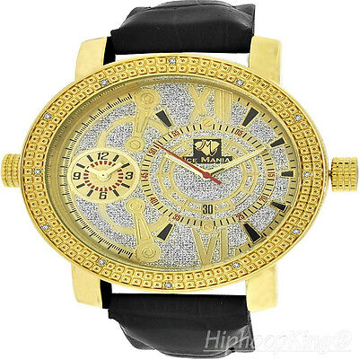GOLDEN FINISH CUSTOM STAINLESS STEEL BACK LIMITED EDITION REAL DIA MENS WATCH