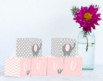 Personalised Wooden Name Blocks PRICE PER BLOCK/LETTER Pink Chevron Elephant