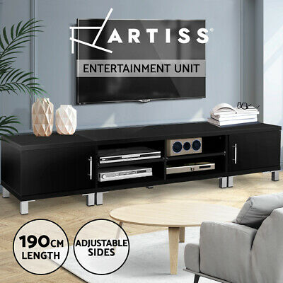 TV Stand Entertainment Unit 190CM Lowline Cabinet Drawer Plasma LCD LED Black