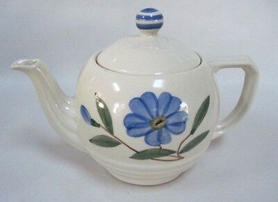 Shawnee Pottery Blue Flower Horizontal Ribbed Teapot