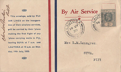 Stamp 1930 Fiji Airlines souvenir first flight cover Lautoka to Suva signed