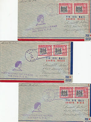 Stamps Fiji group of 5 First Trans Pacific flight covers to various locations