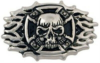 Skull Cross Flame Screwback Concho 71502-01 by Tandy Leather