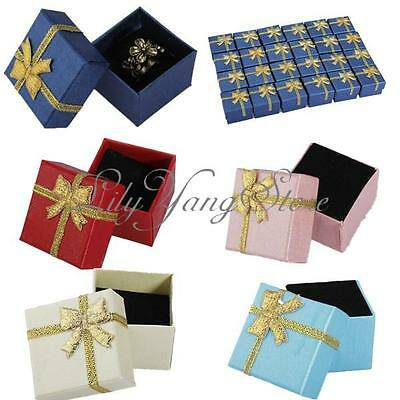 Bulk 24X Jewelry Ring Earring Gift Wholesale Pearl Gold Ribbon Present Box Case