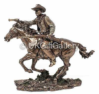 Cold Cast Resin Bronze Sculpture JOHN WAYNE on HORSE Statue Cowboy Ornament NEW