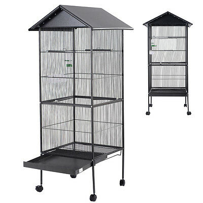 New Bird Cage Large Black Parrot Cockatiel Parakeet Finch Crate 4 Feeder Perch