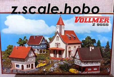 Vollmer Z 9555 Village Buildings Houses Church Set Kits *NEW *USA DEALER*
