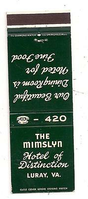 The Mimslyn Hotel of Distinction Luray VA Matchcover 052114