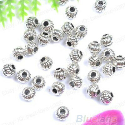 100Pcs Bracelet Diy Tibetan Silver Charms Spacer Beads Jewelry Findings Making