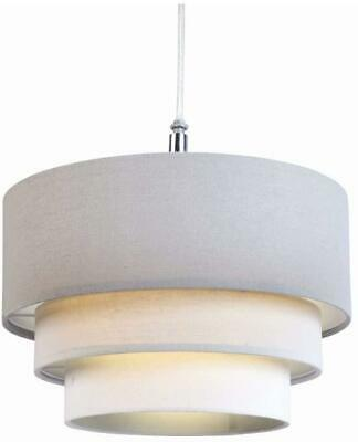 11in 28cm 3 Tier Cotton Fabric Ceiling Lampshade Pendant Light Shade Grey Ivory
