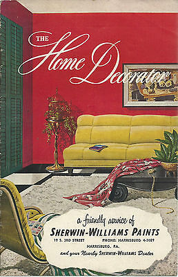 Sherwin Williams Paints 1950 Home Decorator Booklet Great Color Illustrations