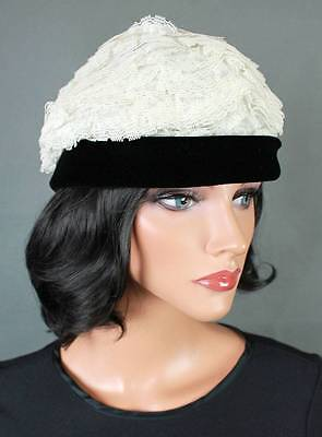 Vintage Designer Hat Sz S Mr John Black Velvet Off White Tiered Lace Toque c1ba23930fd9