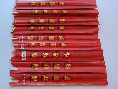 Vintage Group Lot Bamboo Chinese Chopsticks Set 9 Red Paper Sleeve Restaurant