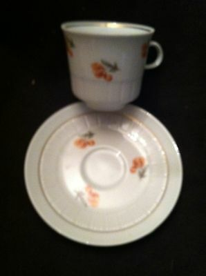 CP German Republic Pleated Tea Cup & Saucer - Small Pink Floral Pattern