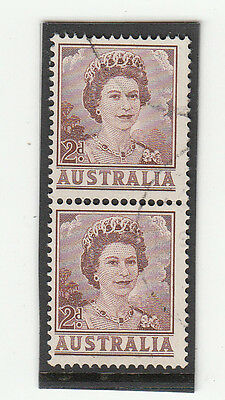 Stamp Australia 2d brown QE2 definitive helecon paper coil perforation, FU