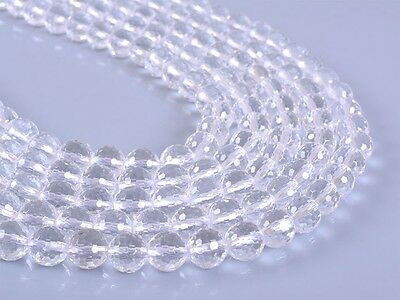 """8MM107 8mm Faceted clear quartz rock crystal round loose gemstone beads 16"""""""