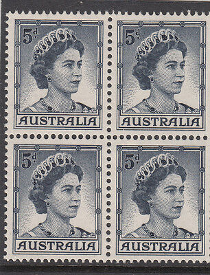 Stamps Australia 5d blue QE2 definitive coil perforation block of 4, MUH