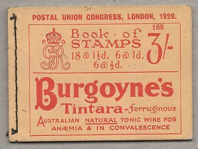 GV - 1929 PUC. BB25 5s booklet. Edition 168. Excellent condition. Cat £450.