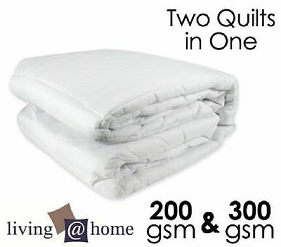 Two Quilts In One 300GSM & 200GSM All Season Microfiber Doona/Quilt-Queen Size