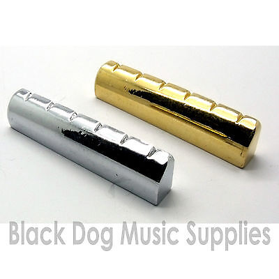 Steel / metal guitar top  nut 43mm in chrome black or gold plated brass