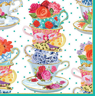 Tea Cups Tea Party Floral Caspari luxury paper table lunch napkins 20 in pack